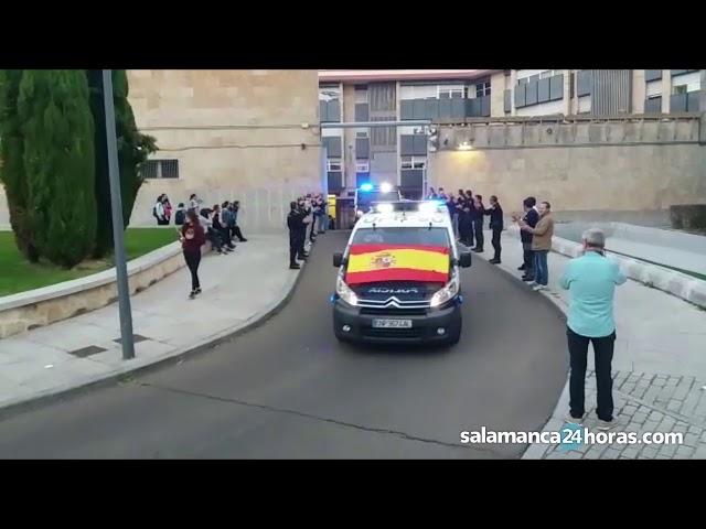 Salida de policías nacionales desde Salamanca hacia Cataluña