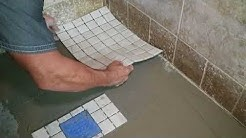 Mosaic tile installation in shower by tile man mike