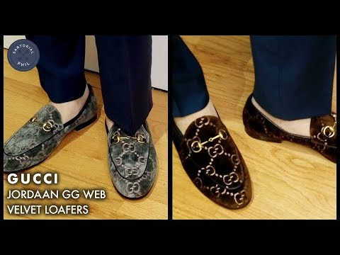 2a977d691d9 Gucci Jordaan Velvet Loafers w GG Web Embroidery  Unboxing and try ...