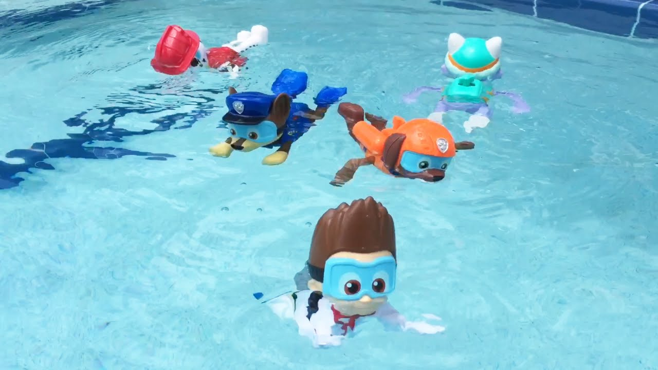 PAw patrol paddlin pups swimming in pool - YouTube