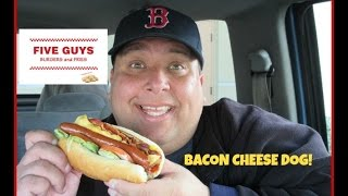 Five Guys Bacon Cheese Dog Review!