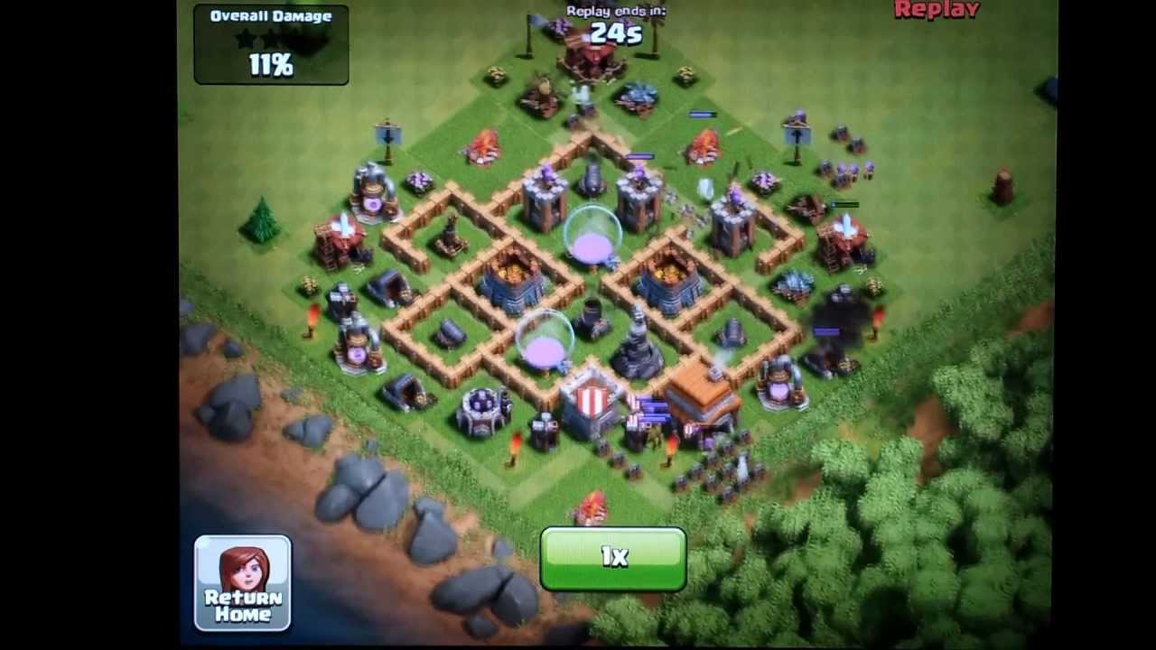 Clash of clans town hall level 5 farming defense layout youtube