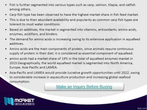 World Aquafeed Market is estimated to garner $156 billion by 2022