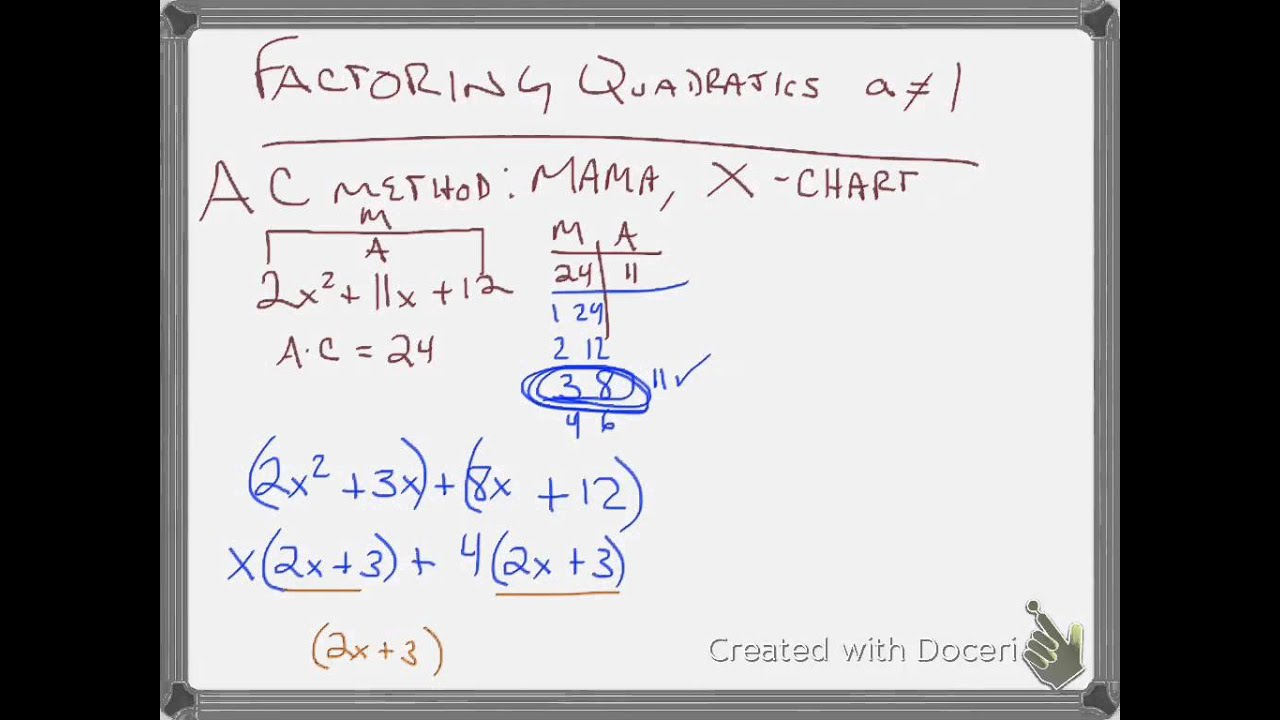 Factoring Quadratics AC method - YouTube