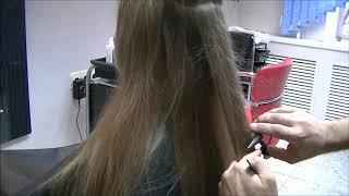 Полировка длинных волос ножницами