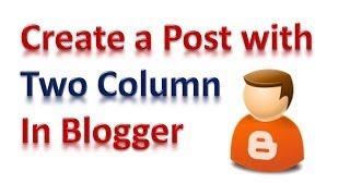 Create a Multi Column Blog Post