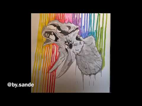 Innovative drip painting technique of a rainbow around a triceratops skull