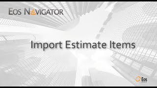 Eos Navigator: Import Estimate Items