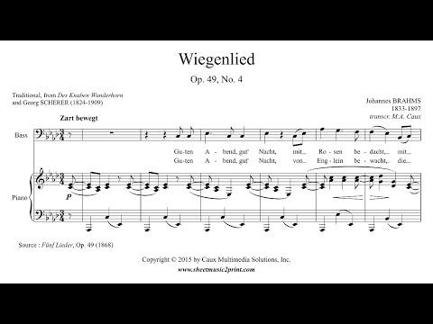 Brahms : Wiegenlied, Op. 49, No. 4 - Bass Voice (A flat Major)