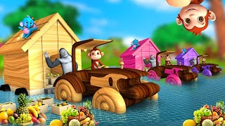 Wooden House Monster Truck Rescue with Gorilla and Monkey Help - Flood in Forest Funny Animals Video