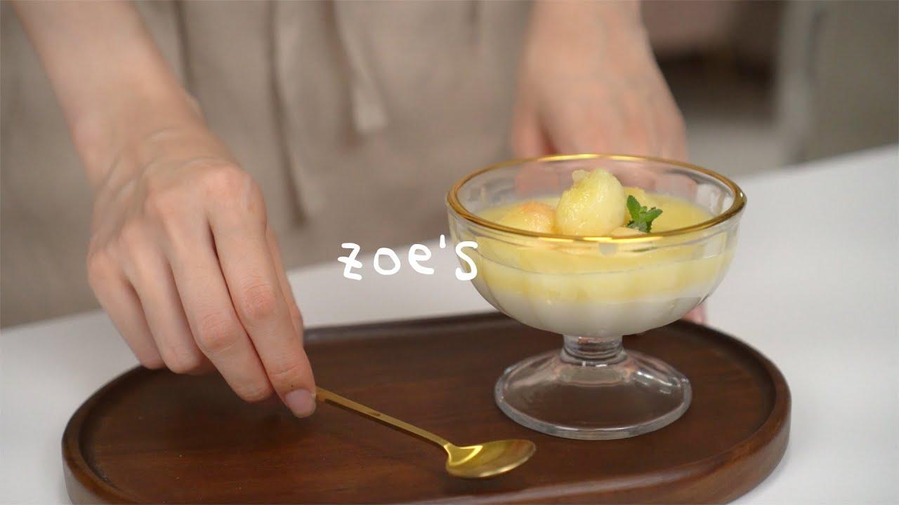 🥛4 summer home cafe menu👀 | Peach Panna Cotta, Rainbow Crape, Mango Bingsu, Coconut lime slush