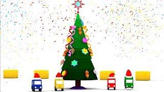 Deutscher Cartoon - Die 4 kleinen Autos schmücken den Weihnachtsbaum