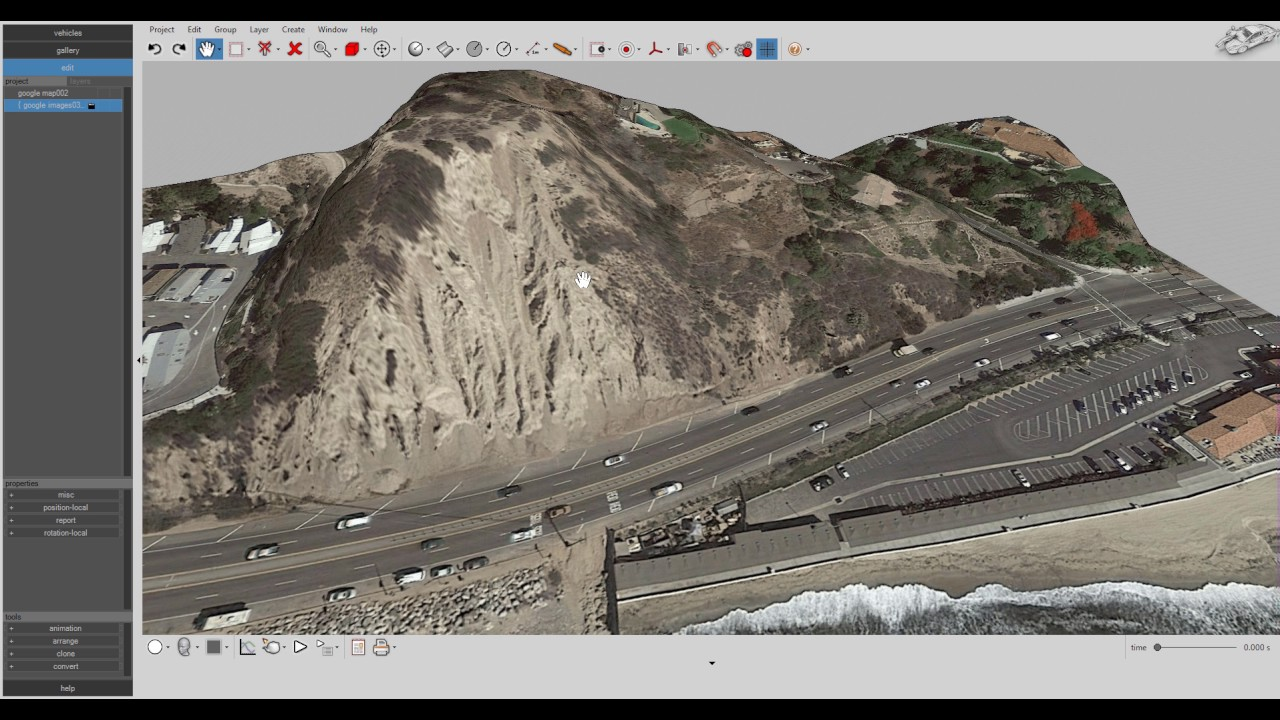 Virtual CRASH Google Earth Import Tool With Terrain Elevation - Google earth elevation data