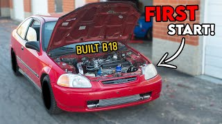 homepage tile video photo for FIRST START of the Fully Built Honda B18 in the FREE CIVIC!