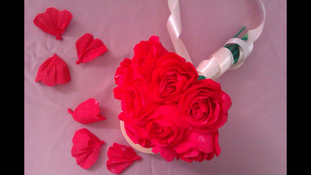 how to make paper flowers : paper roses - YouTube