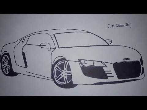 Drawing an Audi r8 car| How to draw Audi r8.