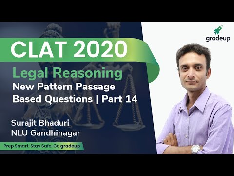Clat 2020 New Pattern Passage Based Question Part 14 Legal Reasoning Surajit Bhaduri Gradeup Youtube