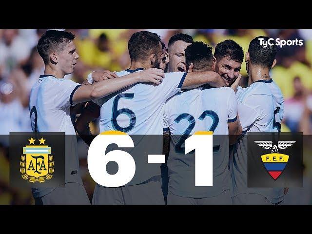 Argentina 6-1 Ecuador (Amistoso Internacional - RESUMEN Y GOLES)