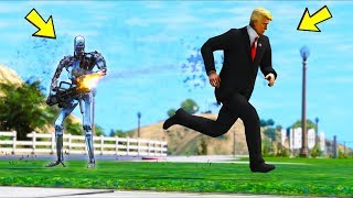 President ATTACKED by a Robot... Can we survive?! (GTA 5 Mods Gameplay)