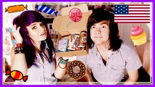 BRITISH COUPLE TRY AMERICAN CANDY!!