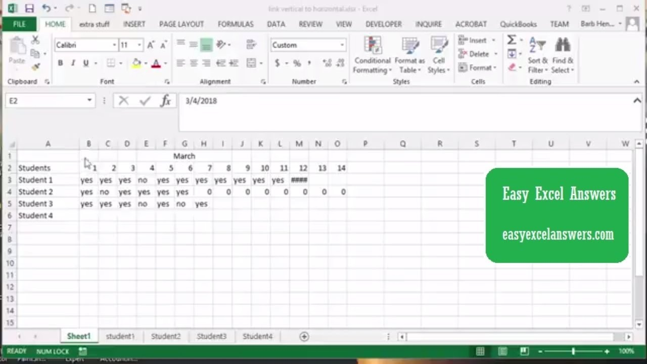 Link vertical data to horizontal in Excel