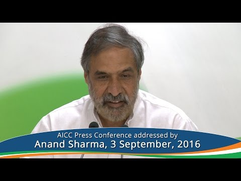AICC Press Conference Addressed By Anand Sharma I September 3, 2016 I