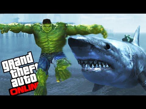 GTA IV - HULK VS MEGALODON - El salvador de la ciudad! XD - NexxuzHD
