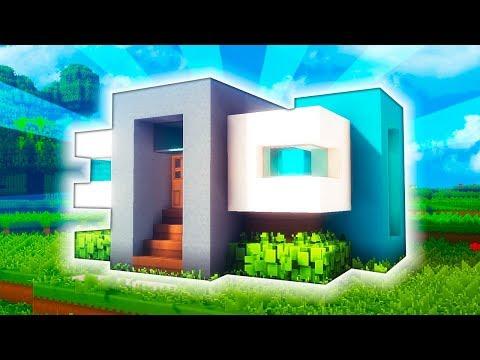 Minecraft: CASA MODERNA PARA SURVIVAL EN UN CHUNK | TUTORIAL
