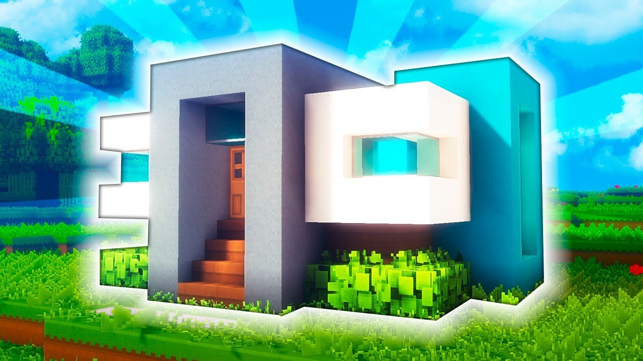 Minecraft casa moderna para survival en un chunk for Casa moderna total white