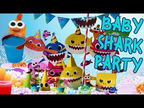 DIY Baby Shark Song Theme Birthday Party Decoration Ideas! Doo Doo Printable supplies craft 1 year