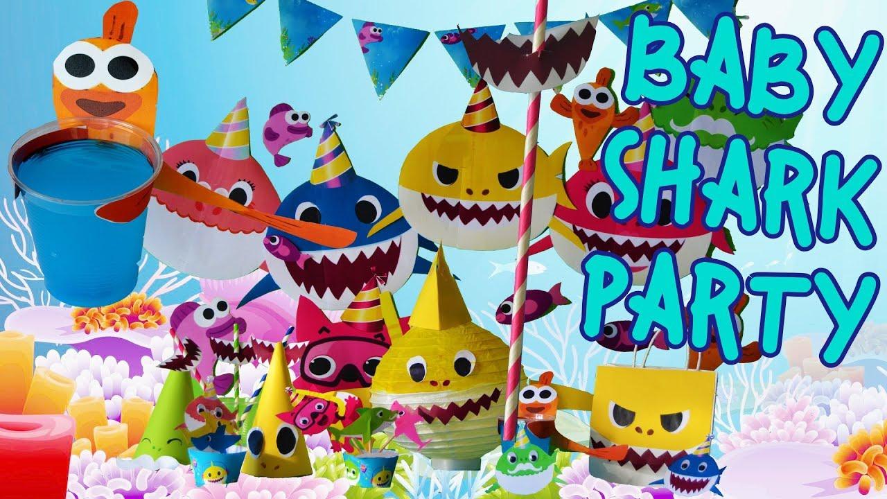 Diy Baby Shark Song Theme Birthday Party Decoration Ideas Doo Doo Printable Supplies Craft 1 Year Youtube
