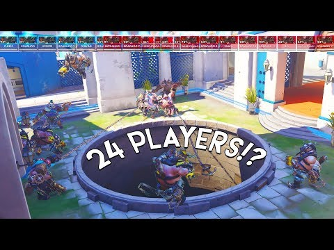 OVERWATCH 12VS12 GLITCH!? 24 PLAYER CUSTOM GAMEMODE!?