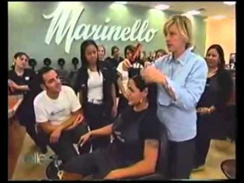 Ellen Degeneres reinventing the Bowl Cut at Marinello Schools of ...
