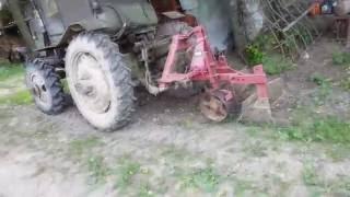 Самодельный трактор. Вспашка целины.