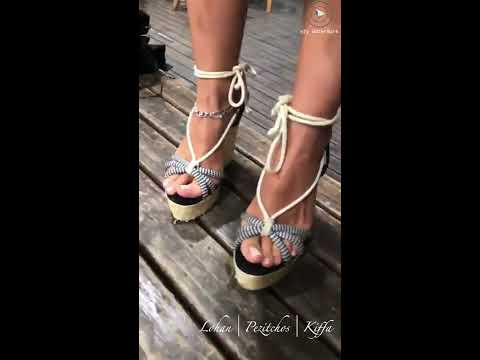 Goddess Lohan showing her Beautiful Feet in Stripped Sandels with White Nails in Slow motion