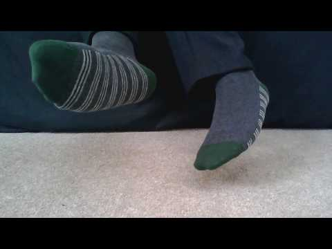 Men's socks - grey with green striped soles