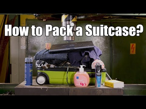 How to Pack a Suitcase with Hydraulic Press   in 4K