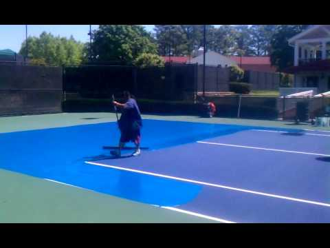 How To Paint Tennis Courts Youtube