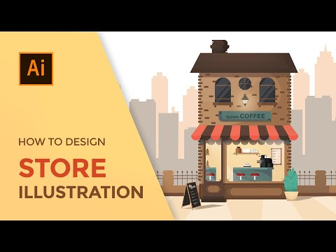 How to create a store illustration | Vector Art | Adobe illustrator tutorial training thumbnail