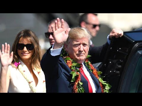President Donald Trump arrives in Hawaii. President Trump visits Hawaii ahead of Asia tour  Novemb