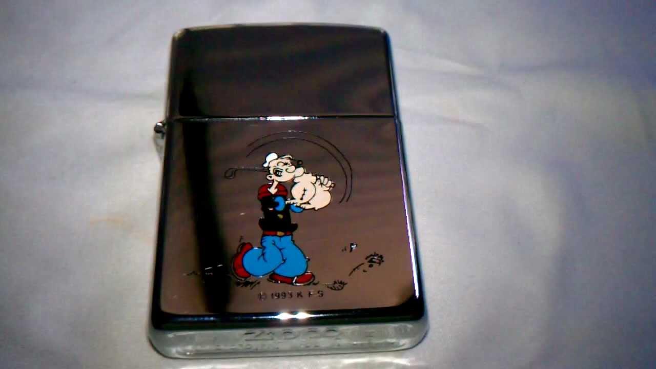 Zippo 1994 Popeye Cartoon Golf Scene Chrome New Lighter