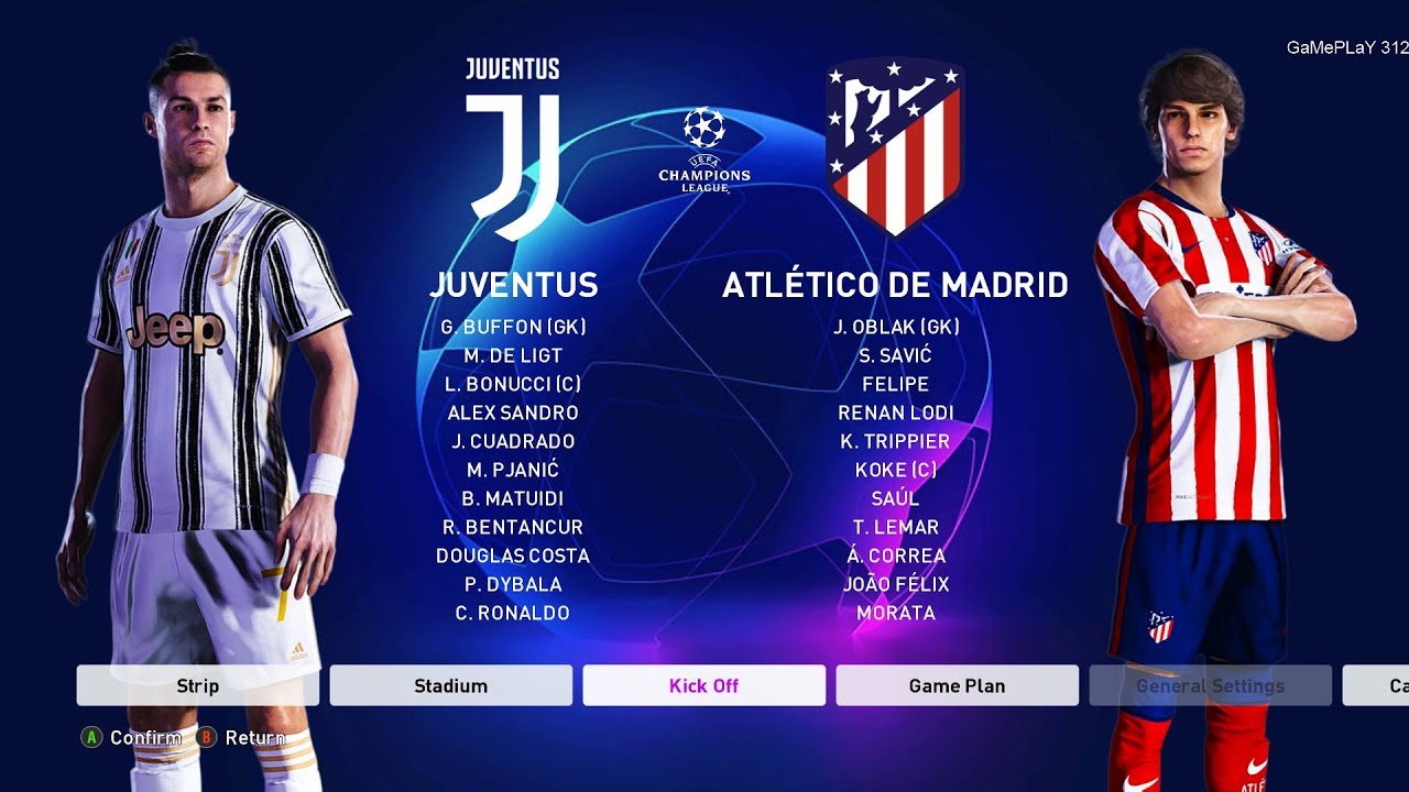 Pes 2020 Juventus Vs Atletico Madrid Uefa Champions League Ucl New Kits 20 21 Season Youtube