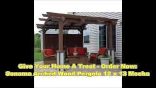 Sonoma Arched Wood Pergola 12x13 Mocha