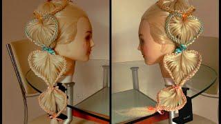 Коса Сердечная с цветными лентами. Детские причёски Видео-урок