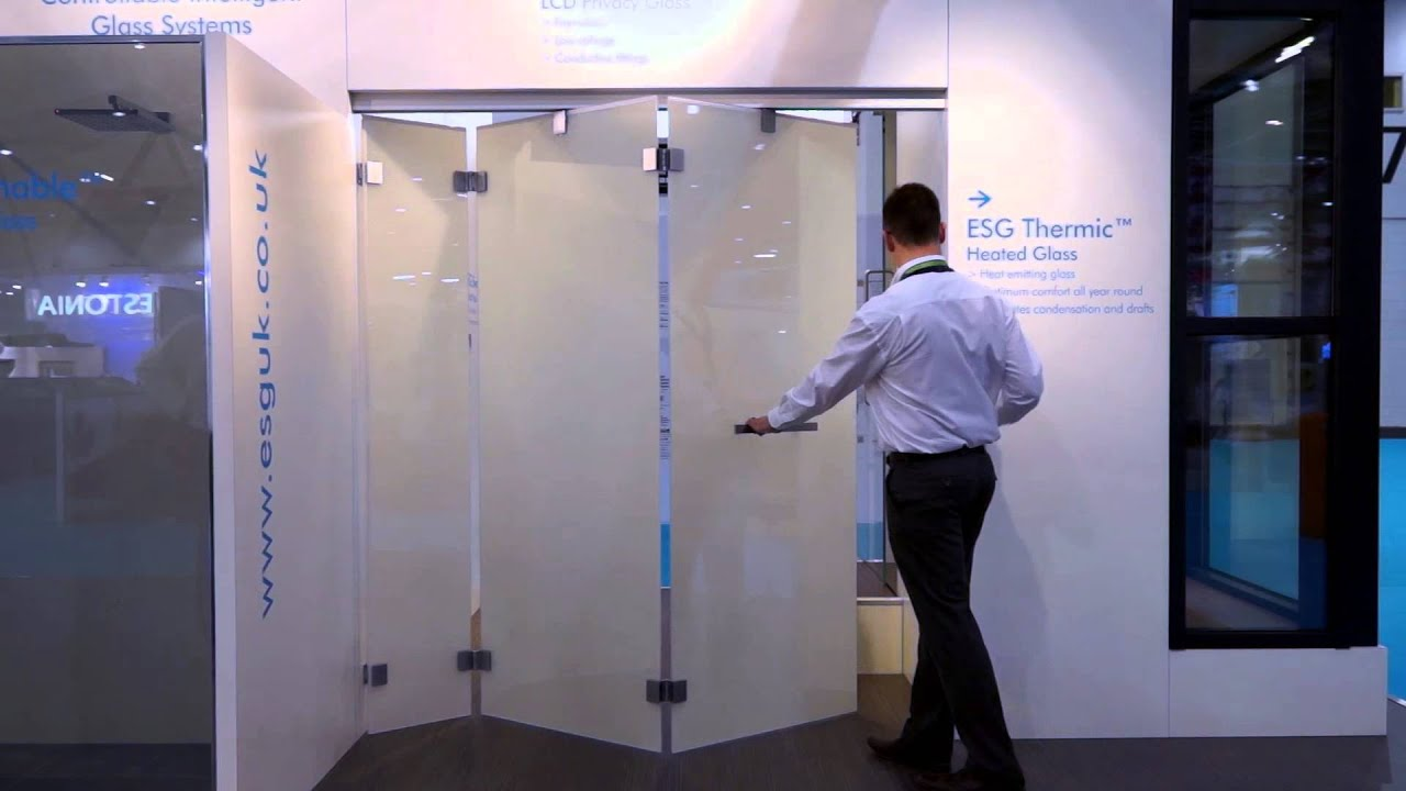 bi folding frameless doors from esg featuring esg switchable lcd privacy glass