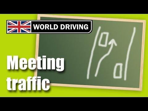 Meeting traffic driving lesson. Clutch control meeting traffic.