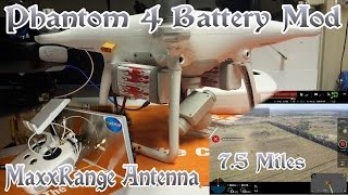 DJI Phantom 4 FIRST  7.5mile Long Range FPV testing ITELITE DBS MaxxRange Antenna & Battery Mod