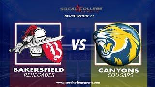 SCFA Football Week 11: Bakersfield at Canyons - 11/10/18 - 6pm