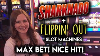 MAX BET Sharknado! Flipping Out! Slot Machines! Random Features! Nice Hit!!!