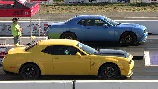 1320 Scat Pack R/T vs Demon and vs Mustang GT - drag race
